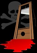 image of guillotine  - Guillotine with a raised knife - JPG