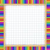Vector Square Border Frame Made Of Multi Colored Wooden Pencils On White Checkered Notebook Sheet Ba poster