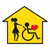 stock photo of assis  - Signal for the home care of disabled - JPG