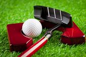Mini Golf Equipment. Macro Photography. Close Up. Object. poster