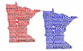 Sketch Minnesota (united States Of America) Letter Text Map, Minnesota Map - In The Shape Of The Con poster