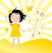 stock photo of hopscotch  - vector illustration of a little happy girl playing hopscotch game in a sunny day - JPG