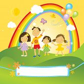 group of happy children in the park with rainbow, clouds and green grass. And a nice label for your