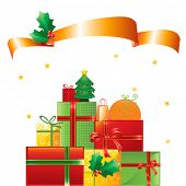 stock photo of christmas-present  - stack of Christmas presents and ornaments on shiny background - JPG