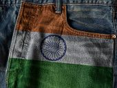 Republic Of India Flag On Jeans Denim Texture With Pride Word. The Concept Of India National Flag On poster