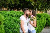 Man Bearded Hipster Hugs Gorgeous Girlfriend. Couple Love Romantic Date Walk Nature Park Background. poster