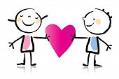 Valentine's Day cartoon romantic couple in love holding heart, children's drawing style series. see
