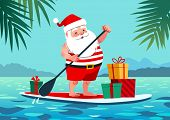 Cute Santa Claus In Shorts And T-shirt On A Stand Up Paddle Board With Gifts, Against Tropical Ocean poster