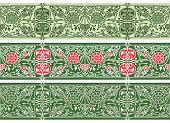 Green Floral Borders Collection. Three Seamless Vector Band poster
