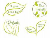 Eco Friendly Premium Quality Organic Bio Natural Products Labels Vector Set, Green Leaves Logo Icons poster