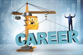 Businessman in career progression concept with crane poster