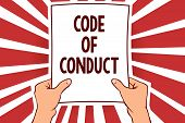Handwriting Text Writing Code Of Conduct. Concept Meaning Ethics Rules Moral Codes Ethical Principle poster
