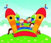 foto of bounce house  - Vector Illustration Of Kids Jumping On Bouncy Castle - JPG