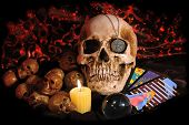 pic of pentagram  - Skull with occult paraphernalia - JPG