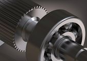Silver Bearing And Cogwheel On A Gray Background. 3d Rendering poster