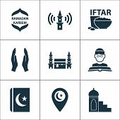 Religion Icons Set With Mimbar, Religion, Mecca And Other Hejaz Elements. Isolated Vector Illustrati poster