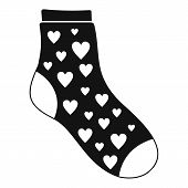 Sock With Heart Icon. Simple Illustration Of Sock With Heart Icon For Web poster