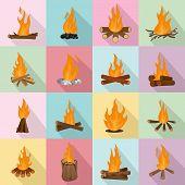 Bonfire Night Fire Icons Set. Flat Illustration Of 16 Bonfire Night Fire Icons For Web poster