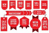 Set Ribbon Banner And Label Sticker Sale Offer And Badge Tag Sale Advertising. Flat Labels, Ribbons  poster