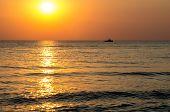 Amazing Sea Sunset. Sunset Sea Waves. Summer Sunset. Beautiful Seascape Evening Sunset Sea And Ship. poster