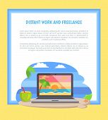 Distant Work And Freelance Web Poster Open Notebook Picture Of Tropical Sunset At Coastline, Standin poster