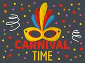 Carnival Time Logo. Flat Illustration Of Carnival Time Logo For Web poster