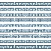 Greek Seamless Pattern Border. Set Of Old Grecian Ornaments. Abstract Geometric Ornament, Isolated O poster