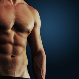 stock photo of fitness man body  - Part of a man - JPG