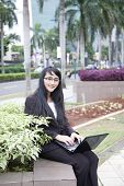 Businesswoman working outdoor