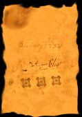 stock photo of 1700s  - parchment with burnt edges and quilled writing from the 1700s pre america - JPG