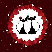 Постер, плакат: Влюблённые черные кошки