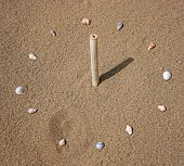 image of sundial  - A glass made by sea shells and wooden stick