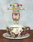 foto of clown rose  - Cute Pierrot style clown doll from traditional French pantomime in harlequin suit jumping into a tea cup - JPG