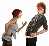 stock photo of gullible  - Young woman frustrated with boyfriend in orange hair - JPG