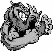 stock photo of boar  - Razorback or Boar Fighting Mascot Body Vector Illustration - JPG