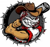 stock photo of gaucho  - Baseball Face Cartoon Cowboy with Bat Vector Illustration - JPG