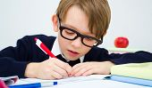 Schoolboy writing homework in workbook