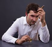 Disappointed Man Drunk With Whiskey