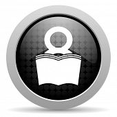 book black circle web glossy icon