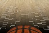 stock photo of sweet sixteen  - A basketball court with the grid of 64 - JPG