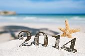 stock photo of single  - 2014 letters with starfish - JPG