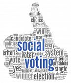 Social media voting  concept in word tag cloud on white background