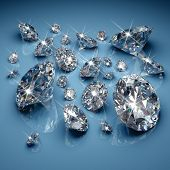 foto of diamond  - Brilliant diamonds on blue background - JPG