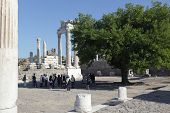BERGAMA, TURKEY - AUGUST 16: Tourists in the ancient city of Pergamon, now Bergama, Turkey on August