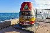 stock photo of tourist-spot  - Southernmost Point marker Key West Florida USA - JPG