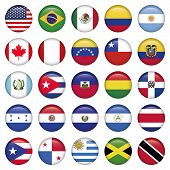stock photo of south american flag  - American Flags Round Icons - JPG
