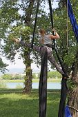 stock photo of aerialist  - Young woman gymnast in nature hanging in a tree - JPG