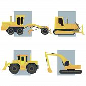 stock photo of bulldozer  - Set of simple icon of tractors bulldozers excavators and grader on background rectangle - JPG