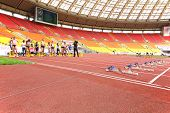 MOSCOW - JUN 11: Athletes preparing for the race on International athletic competition Moscow Challe