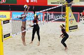 MOSCOW - JUNE 6: Female teams from Brazil play volleyball in Country Quota at tournament Grand Slam